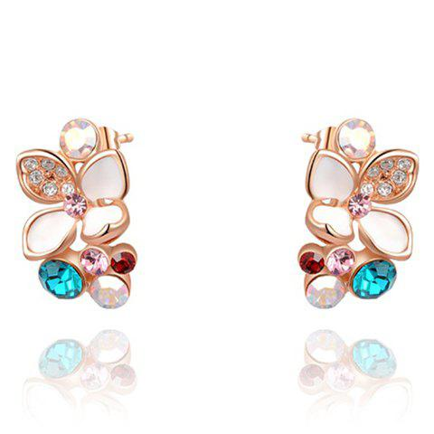 Pair of Chic Butterfly Embellished Colored Diamante Earrings For Women - ROSE GOLD