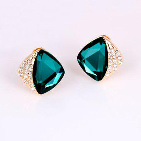 Pair of Dazzling Diamante Colored Faux Crystal Earrings For Women - GREEN