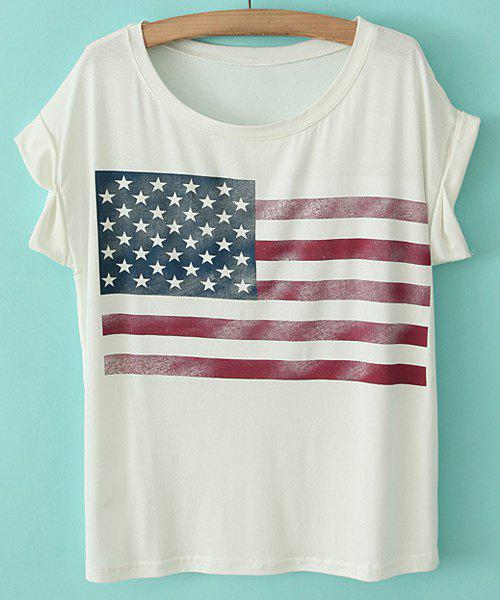 Casual Style Scoop Neck Cotton Star Print Stripe Short Sleeve Women's T-shirt - WHITE ONE SIZE