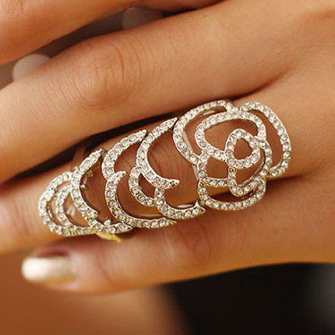 Rhinestone Hollow Out Joint Ring - AS THE PICTURE ONE SIZE