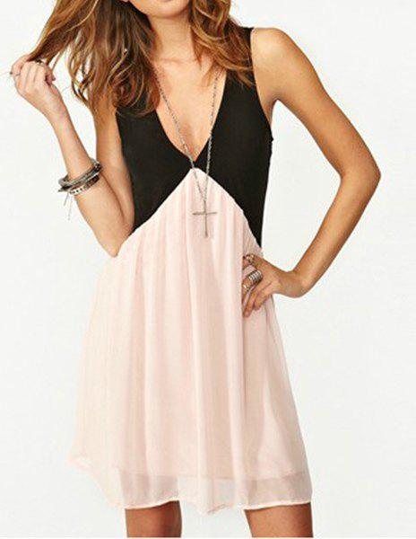Color Block Plunging Neck Sleeveless Chiffon Stylish Women's Dress - BLACK/PINK S