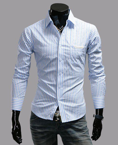 Stylish Shirt Collar Slimming Stripe Pattern PU Leather Design Long Sleeve Men's Polyester Shirt - BLUE M
