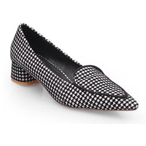 career pointed toe and houndstooth design flat shoes for