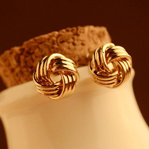 Pair of Chic Stylish Gold Ball Earrings For Women - GOLDEN