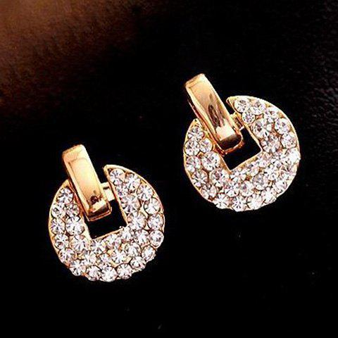 Pair of Chic Delicate Rhinestone Coin Earrings For Women - AS THE PICTURE
