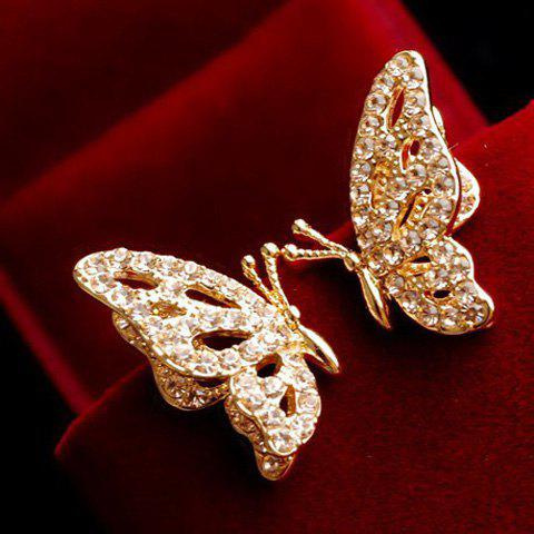Pair of Rhinestone Openwork Butterfly Earrings - AS THE PICTURE