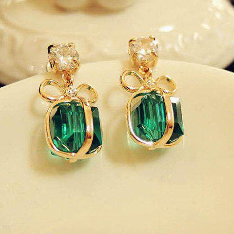 Pair of Stylish Rhinestone Bowknot Present Shape Pendant Earrings For Women