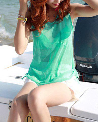 Women's Cute Multi-Layered One Pocket Lace Up Four-Piece Swimsuits - GREEN M