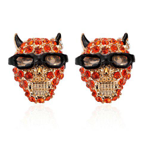 Pair of Nifty Diamante Dog Head Stud Earrings For Women - RED