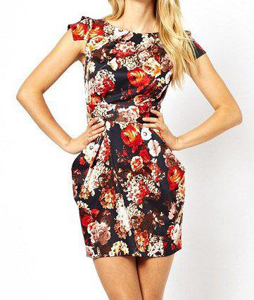 Fashionable Round Collar Short Sleeve Floral Printing Zipper Back Dress With Belt For Women - AS THE PICTURE M