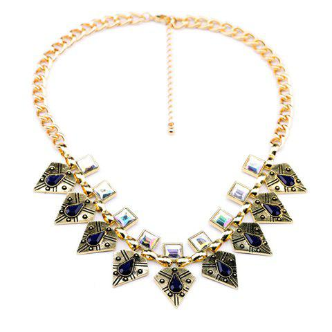 Retro Punk Geometric Pendant Faux Crystal Embellished Alloy Necklace For Women - GOLDEN