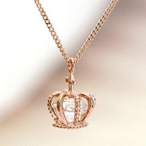 Zircon Crown Pendant Necklace - AS THE PICTURE