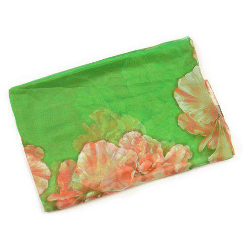 Sweet Big Flower Pattern Colored Imitated Silk Fabric Scarf For Women - GREEN
