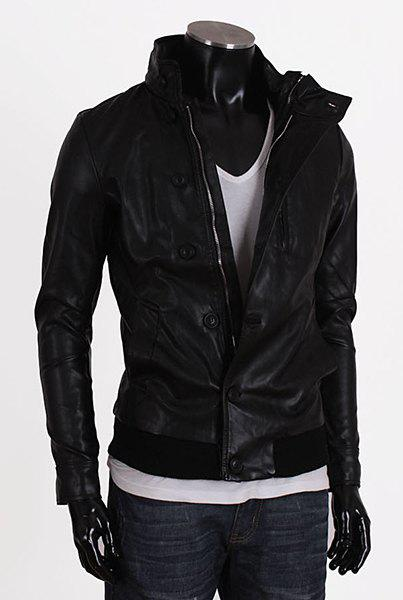 Fashion Stand Collar Rib Splicing Long Sleeves PU Leather Jacket For Men