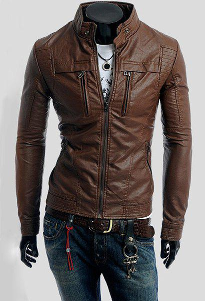 Fashion Stand Collar Slimming Solid Color Long Sleeves PU Leather Jacket For Men - COFFEE M