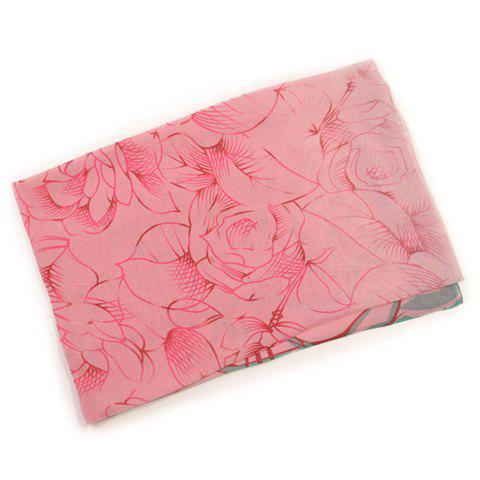 Chic Printed Solid Color Imitated Silk Fabric Scarf For Women - PINK