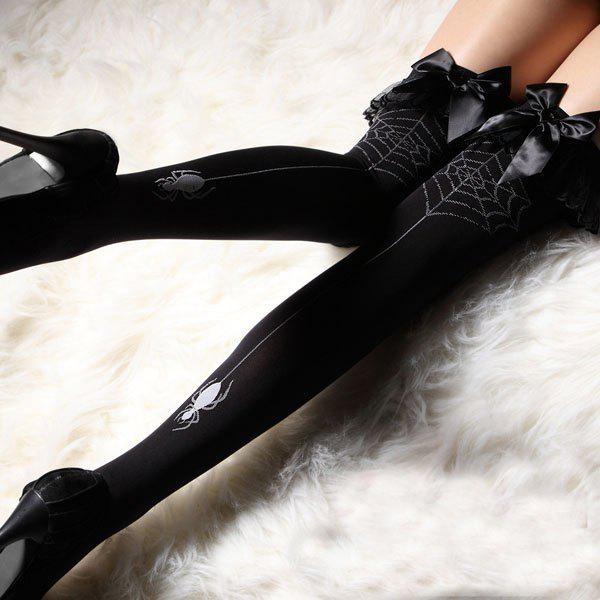 Slimming Bow Tie Embellished Color Block Women's Stockings - BLACK ONE SIZE