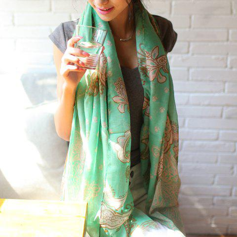 Ethnic Style Paisley Pattern Colored Scarf For Women - GREEN