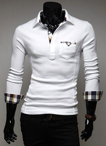 Stylish Turn-dwon Collar Plaid Splicing Long Sleeves Polo Shirt For Men - WHITE M