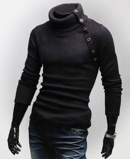 Stylish Turtleneck Multi-button Long Sleeves Wool Blend Sweater For Men - BLACK L
