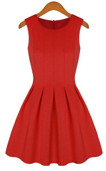 Women's Scoop Neck Solid Color Ruffled Sleeveless Dress - RED M