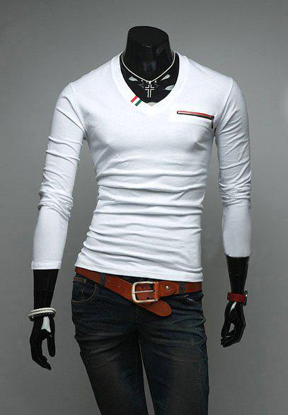 Stylish V-Neck Zipper Embellished Long Sleeves Polyester T-shirt For Men - WHITE M