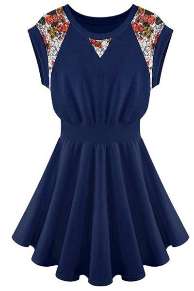 Elastic Waist Color Block Sleeveless Round Collar Floral Print Casual Dress - CADETBLUE S