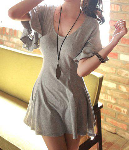 Butterfly Sleeve Simple Style Scoop Neck Solid Color Cotton A-Line Women's Dress - GRAY ONE SIZE