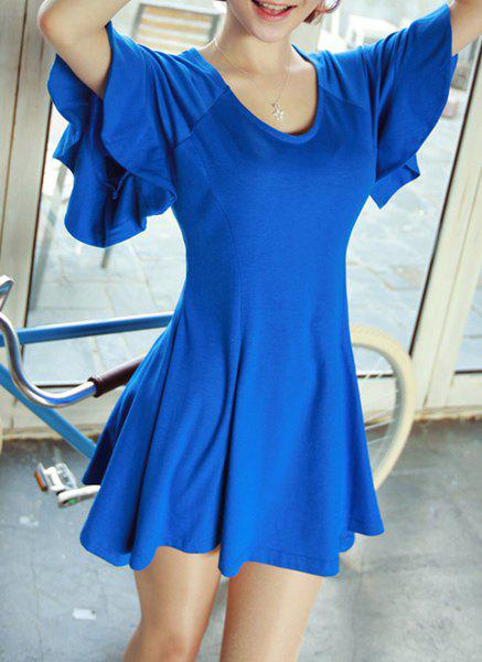 Simple Style Scoop Neck Butterfly Sleeve Solid Color Cotton A-Line Women's Dress - BLUE ONE SIZE