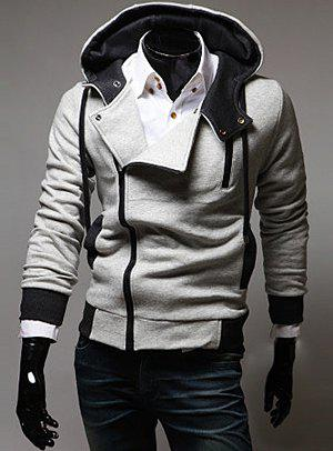 Street Style Side Zipper Long Sleeves Polyester Hoodies For Men - LIGHT GRAY M