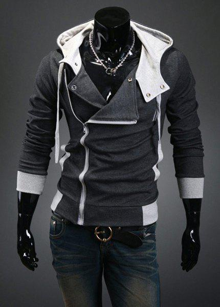 Street Style Side Zipper Long Sleeves Polyester Hoodies For Men