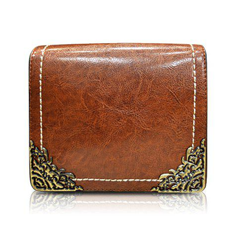 Stylish Metal and Solid Color Design Crossbody Bag For Women - BROWN