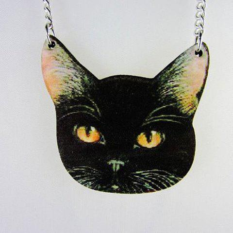 Cartoon Cat Pendant Sweater Chain - BLACK