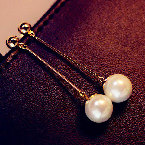 Pair of OL Style Faux Pearl Pendant Long Alloy Earrings For Women