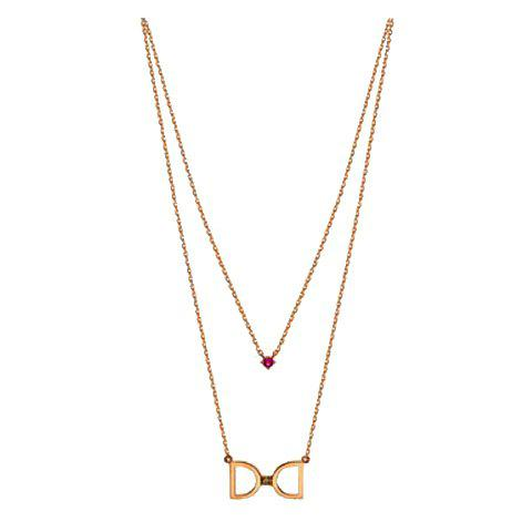 Trendy Letter D Pendant Double Layered Golden Alloy Necklace For Women - GOLDEN