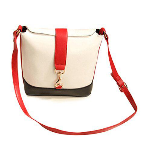 Preppy Color Block and PU Leather Design Crossbody Bag For Women - WHITE