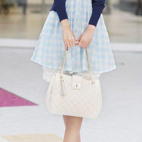 Elegant Checked and Tassels Design Shoulder Bag For Women - WHITE