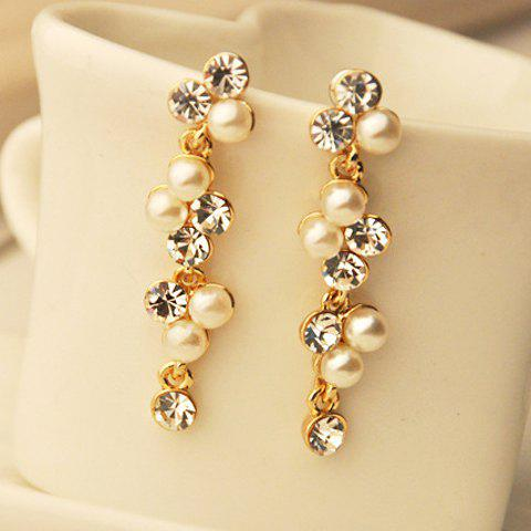 Pair of Rhinestone Faux Pearl Earrings - AS THE PICTURE