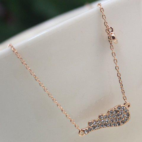 Chic Rhinestone Embellished Small Wing Pendant Necklace For Women - ROSE GOLD