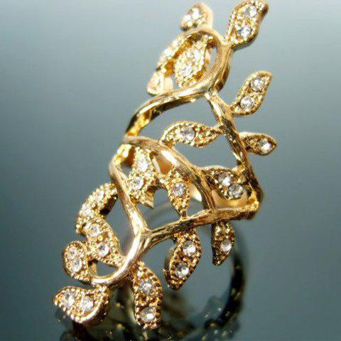 Chic Sweet Rhinestone Leaf Ring - AS THE PICTURE ONE SIZE