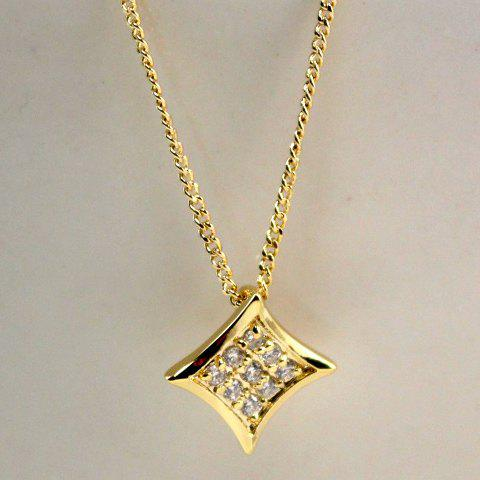 Cute Fully-jewelled Golden Rhombus Pendant Alloy Necklace For Women - GOLDEN