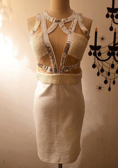Vintage Round Neck Sequined Sleeveless Beaded Bodycon Dress For Women цены
