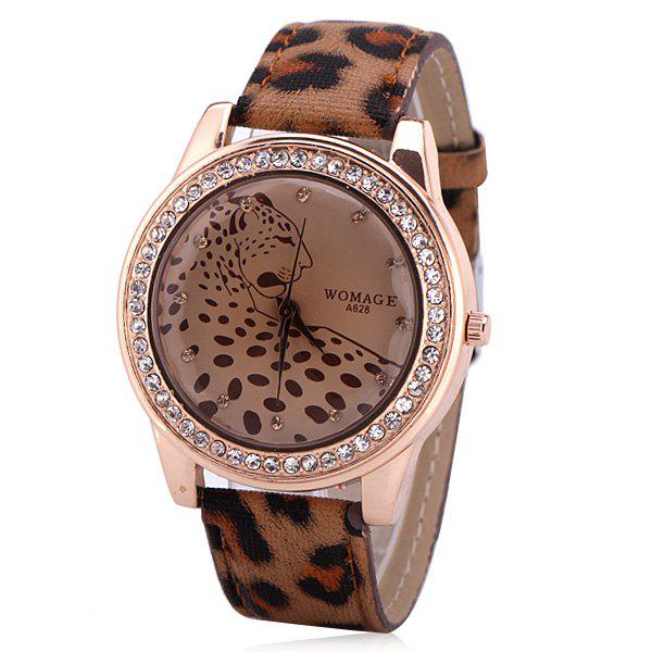 Quartz Watch with 12 Small Diamond Dots Analog Indicate Leather Watch Band Leopard Pattern Dial for WomenWatches<br><br><br>Color: BROWN