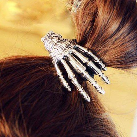Vintage Skeleton Hand Embellished Elastic Hair Band For Women - SILVER