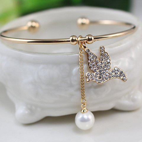 Exquisite Faux Pearl and Fully-jewelled Dove Embellished Cuff Bracelet For Women - GOLDEN