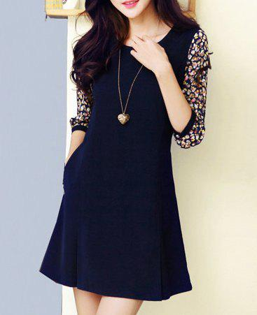 Women's Graceful Pockets Design Tiny Floral Print Pleated 3/4 Sleeves Dress - AS THE PICTURE M
