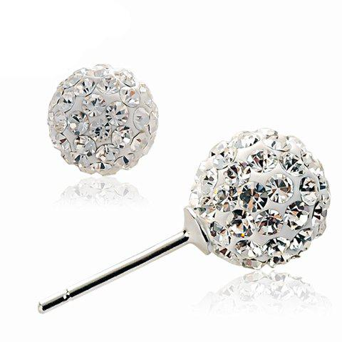 Pair of Shinning Fully-jewelled Ball Embellished Earrings For Women - SILVER