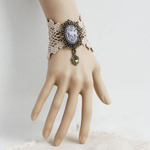 Retro Lace Flower Pattern Heart Pendant Bracelet For Women