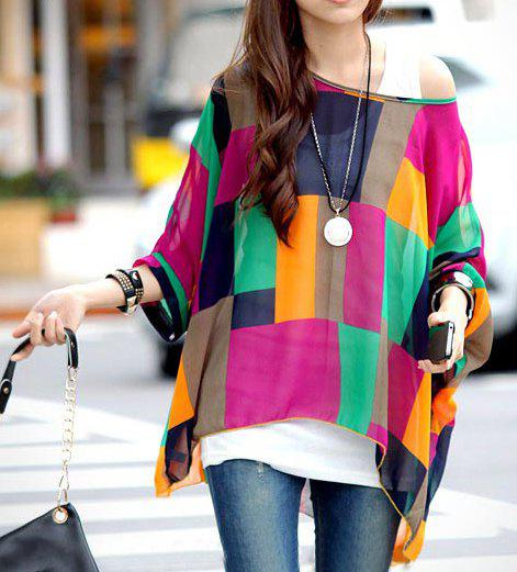 Stylish Scoop Neck Color Block Batwing Sleeve Chiffon Blouse For Women - AS THE PICTURE XL