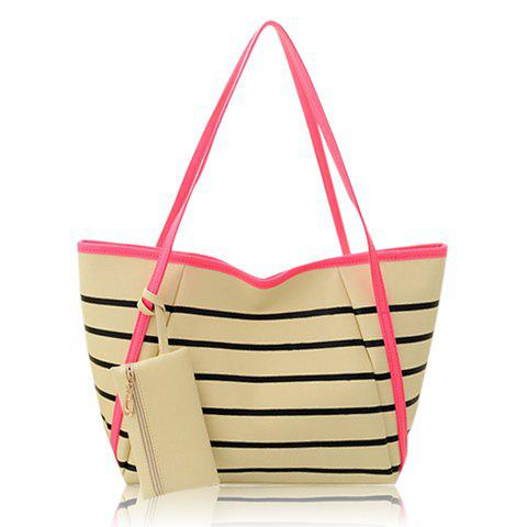 Fashionable Stripes and Small Wallet Design Shoulder Bag For Women - WATERMELON RED